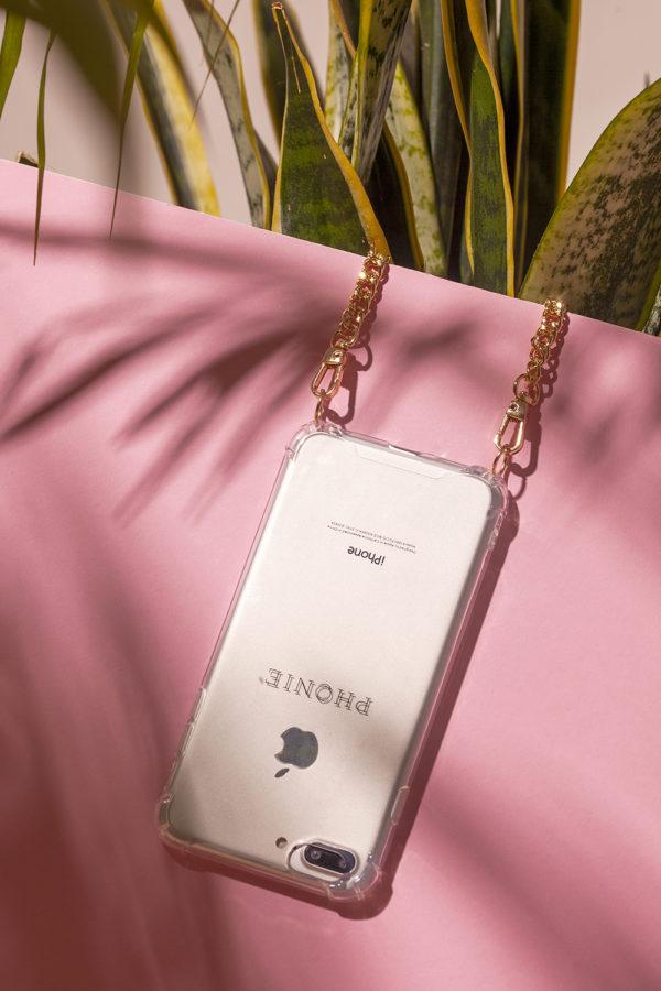 Phonie Handykette, Smartphonenecklace Phonie, Handykette aus Gold zum Umhängen