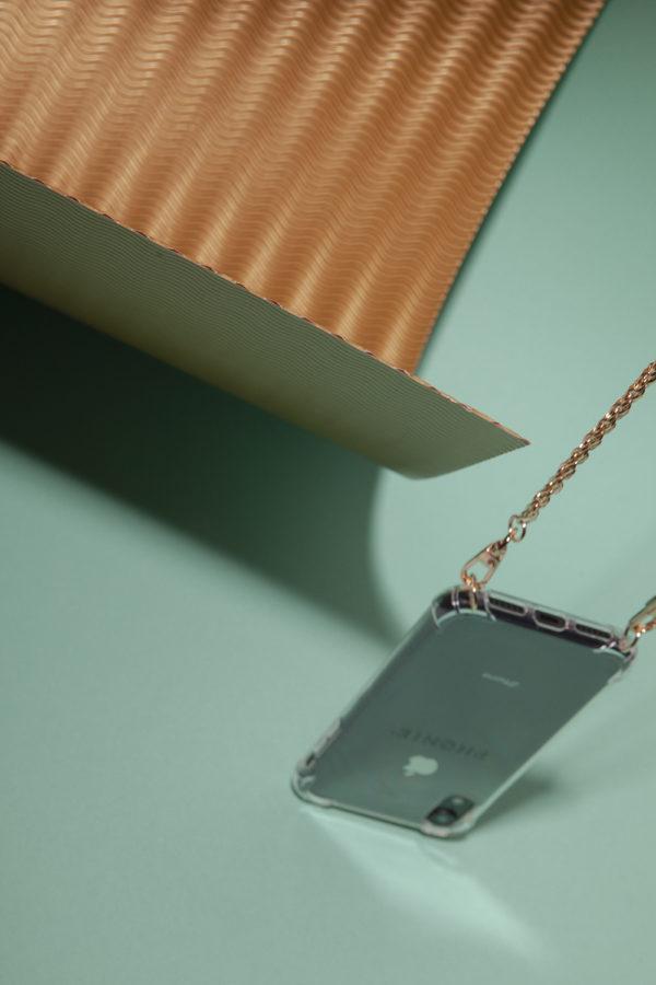Phonie Handykette Gold, Modell Ute, Smartphonenecklace für iPhone oder Samsung